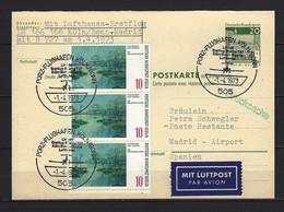 BUND -  P 98 F Postkarte Erstflug LH 166 Köln/Bonn-Madrid 1.4.1973 - Cartes Postales - Oblitérées