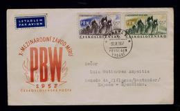 X PBW Cycling Ciclisme Bikes CESKOSLOVENSKO Fdc Vignette 1957 Sp5614 - Ciclismo