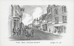 SKETCH OF NORTH STREET, BISHOPS STORTFORD, HERTFORDSHIRE, ENGLAND. UNUSED POSTCARD Wa7 - Hertfordshire