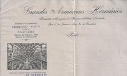 Carta Dos Grandes Armazens Herminios, Porto De 1915. Local Do Antigo Teatro Baquet. Rare. 2 Scn. - Portugal