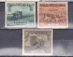 AGRICULTURE, COWS, TRACTOR, ROMANIA 1955, MI 1459-61, - 1948-.... Republics