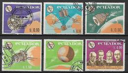 ECUADOR 1966 UNIONE INTERNAZIONALE DI TELECOMUNICAZIONI YVERT. 752-754 + POSTA AEREA 450-452 USATA VF - Ecuador