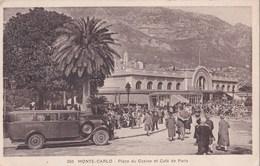 CPA    Monte Carlo (Monaco) Place Du Casino Et Café De Paris  Autocar Du Riviera Palace Hotel     1936 - Monte-Carlo