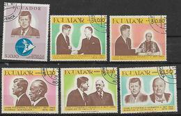 ECUADOR 1967 KENNEDY YVERT. 784-786 + POSTA AEREA 487-489 USATA VF - Ecuador