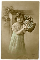 PRETTY GIRL WITH BASKET OF FLOWERS - Fancy Cards