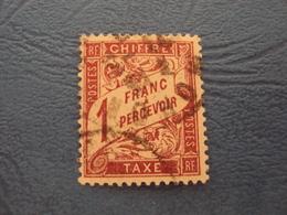 """1884- TAXE, N°  40  , Oblitéré, """" 1f Lilas , Brun Sur Paille     """"           Cote     0.30     Net         0.10 - Portomarken"""