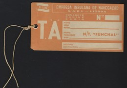 N/T PAQUETE FUNCHAL Etiqueta De Camarote EMPRESA INSULANA De NAVEGAÇÃO / EIN. Vintage Cruiser Label PORTUGAL - Bateaux