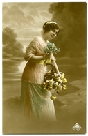 PRETTY GIRL WITH BASKET OF FLOWERS (HAND-COLOURED) - Women