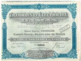 Ancienne Action - Tramways Et Electricité De Damas - Titre De 1928 - N° 12344 - Chemin De Fer & Tramway
