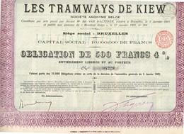 Ancienne Action - Les Tramways De Kiev - Titre De 1905 - Spoorwegen En Trams