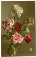 FLOWERS : VASE OF ROSES (HAND-COLOURED) - Flowers