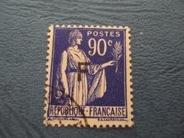 """1939    -FRANCHISE MILITAIRE  - N°10       Oblitéré """" F , Noir""""      """" 90c Bleu Outremer   """"       Cote 3   Net        1 - Franchise Militaire (timbres)"""