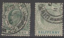 GIBRALTAR - 1904, 1907  ½d King Edward VII. Both Shades. Scott 49, 49A. Used - Gibraltar