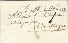 1824- Lettre De  61 / CALAIS ( Pas De Calais )29 X 11 Mm  De La Mairie  Au Sujet D'un Enfant Disparu Pour L'Hospice - Postmark Collection (Covers)