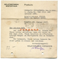 Postkarte Luftpost Gelatinefabrik Winterhur Schweiz Helvetia 1947 Quilmes Argentina Poststempel - Suisse