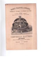 CAMPANELLO ELETTRICO SOCIETA' TELEFONICA LOMBARDA  FINE 800 ORIGINALE DEPLIANT PUBBLICITARIO - Scienze & Tecnica