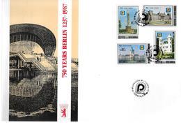 COREE DU NORD  FDC    1987  750 Ans De Berlin  Monuments - Monumentos