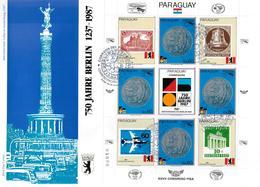 PARAGUAY  FDC    1987  750 Ans De Berlin  Monuments Avions Monnaie Cloche - Monuments