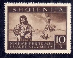 ALBANIA OCCUPAZIONE TEDESCA 1944 PRO SINISTRATI 10Q + 5Q MNH - Occ. Allemande: Albanie