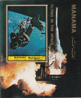 Manama 1972 Bf. 190A Spazio Flying In The Space Sheet Perf. CTO Apollo - Manama