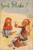 Ansichtskarte  God Paske - Junge Bietet Mädchen Essen Scherzkarte 1943  - Humor