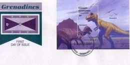 GRENADA - GRENADINES - 13 4 1994 FDC DINOSAURI  FOGLIETTO - Grenada (1974-...)