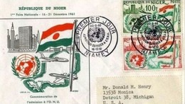 ONU - NIGER FDC 16 12 1961  AMMISSIONE NIGER ALL'ONU -RACCOMANDATA VIAGG ESTERO - Niger (1960-...)