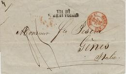 1846- Enveloppe OUTREMER / LE HAVRE Rouge + VIA DI / P. BEAUVOISIN Pour Gènes - ...-1850 Préphilatélie