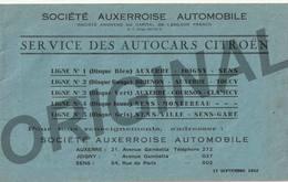 Service Des Autocars CITROEN - 1932 - AUXERRE SENS JOIGNY - Horaires Et Tarifs - Descriptif Des Haltes - Europa