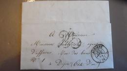 Courier 1851 Cachet Auxonne - Storia Postale