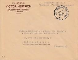 Env En Franchise Postale Obl LUXEMBOURG STRASBOURG * [2658B] Du 24.11.1955 Adressée à Strasbourg - Bahnpost