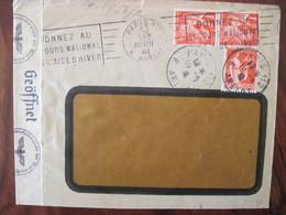 France 1941 Censure Lettre Enveloppe Fenêtre Cover Paire OKW Geöffnet Prolabo Rhône Poulenc - Marcofilie (Brieven)