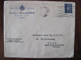 France 1943 Petain Censure Lettre Enveloppe Cover OKW Geöffnet Guerre 1939 / 1945 Ww2 Occupation Allemagne Suisse - Guerre De 1939-45