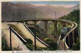 Ligne Du Tram De MENTON à SOSPEL  Le Viaduc De Caramel TRAM  Colorisée RV - France