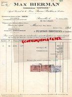 BELGIQUE- BRUXELLES- RARE FACTURE MAX BIERMAN-IMPERMEABLES MATTAMAC-MATTA- FIRME PEARSON BROTHERS DE LONDRES-1924 - Petits Métiers
