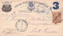 PERÚ - TARJETA POSTAL 1897 -> PORT LIMON/COSTA RICA - Peru