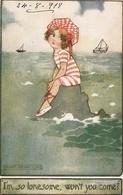 """Agnes Richardson. I' So Lonesome, Wwon't You Come?"" Tuck Oilette Our Kiddies Ser. PC # 8787 - Tuck, Raphael"