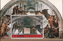"Ajman 1972 Bf. ""Messa Di Bolsena"" Affresco Dipinto Da Raffaello Sanzio Sheet CTO Paintings Quadro - Ajman"