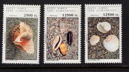 673014868 TURKISH CYPRUS 1994 POSTFRIS MINT NEVER HINGED POSTFRISCH EINWANDFREI SCOTT 377 379 SEA SHELLS - Chypre (Turquie)