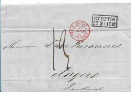 Pre300 / Preussen, Stettin 1848 Nach Angers (Frankreich) Via Valenciennes - Pruisen