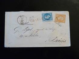 LETTRE CHARGEE DE METZ POUR PARIS  -  1868  -  2 TRES BEAUX CACHETS CIRE  - - Postmark Collection (Covers)