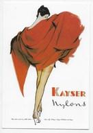 Large Format - Reproduction Advertising Card - Stockings - Kayser Nylons - Fashion