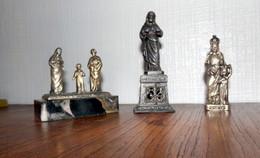 STATUETTES RELIGIONS LOT DE 3     1 SACRE COEUR   2 VIERGE COURONNE  3  LA SAINTE FAMILLE - Religion & Esotérisme