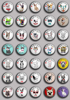 LOVE DOG France Bulldog BADGE BUTTON PIN SET 3 (1inch/25mm Diameter) 35 DIFF - Tiere
