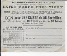 03.- SAINT-YORRE  Bon Pour Une Caisse De 50 Bouteilles - Prix De Transport - Alimentaire