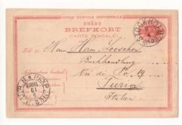 Schweden - Ganzsache/Auslands-Postkarte MiNr. P13 B - Gelaufen STOCKHOLM 4.10.1882 Nach Turin, Italien - Enteros Postales