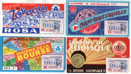 4 Billets De Loterie - Zodiaque - Chiens D' Aveugles - Rosa - F.I.D.EL. - Bourse   (110112) - Billets De Loterie
