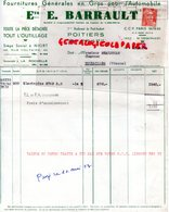 86- POITIERS- FACTURE ETS. E. BARRAULT-FOURNITURES GENERALES EN GROS POUR AUTOMOBILE-1 BD PONT JOUBERT-1953 - Cars