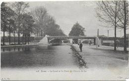 CPA - REIMS - LE CANAL ET LES PONTS DE CHEMIN DE FER - Reims