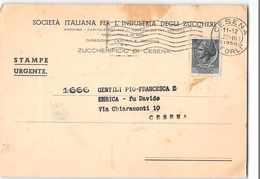 6973 01  SOC. ITALIANA PER L'INDUSTRIA DEGLI ZUCCHERI ZUCCHERIFICIO DI CESENA - 6. 1946-.. Republik